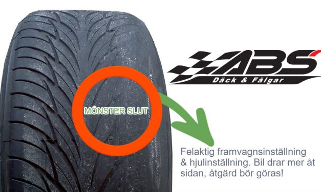 Vilket däck tyder på felaktig framvagnsinställning/hjulinställning?
